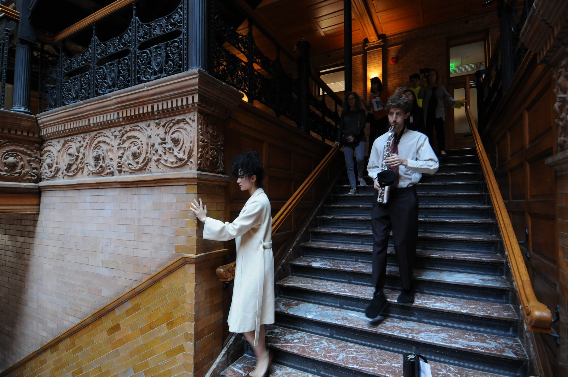 "Performance of the opera ""Hopscotch"" in the Bradbury Building"