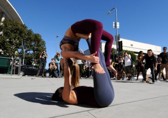 Dance performance outside Disney Hall